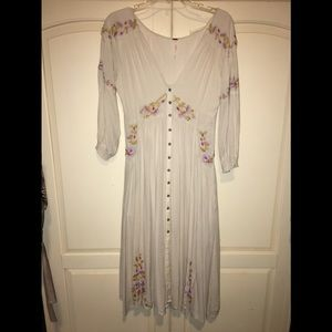 Free People Ivory Embroidered Dress Sz XS